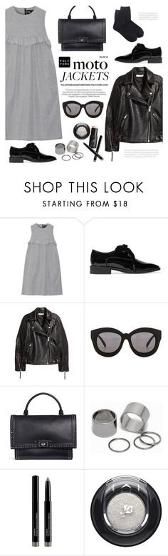 """After Dark: Moto Jackets"" by palmtreesandpompoms ❤ liked on Polyvore featuring Paskal, Lanvin, Seafolly, Givenchy, Pieces, Lancôme, e.l.f., HM, netaporter and motojackets"