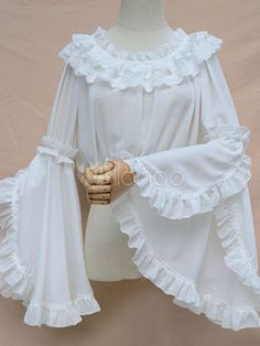 Sweet Lolita Blouse White Vintage Neverland Hime Sleeve Lolita Shirt The clothing culture is very old. Kurta Designs, Kurti Designs Party Wear, Blouse Designs, Kurti Sleeves Design, Sleeves Designs For Dresses, Sleeve Designs, Stylish Blouse Design, Stylish Dress Designs, Designer Kurtis