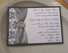 Bling Wedding Invitations Custom Invitation Black Damask Rhinestone Ebay