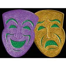 Hang Our Comedy Tragedy Glitter Mask On Your Wall For Sparkling Mardi Gras Decorations The Cardboard Mask Is Covered With Purple Gold And Green Glitter
