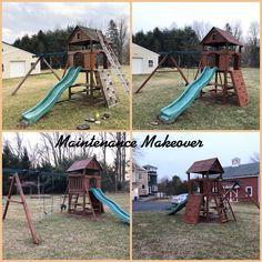 Playset Refurbish Wood Playground, Relocation Services, Yard, Ideas, Patio, Courtyards, Thoughts, Garden, Court Yard