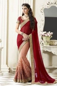 Faux Georgette and Net Half N Half Saree In Maroon and Pink Colour