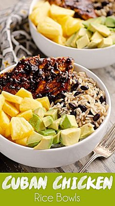 Cuban Chicken Rice Bowl is an easy 20 minute weeknight dinner recipe perfect for healthy meal prep. The combination of pineapple, avocado, rice and beans paired with the Cuban spiced chicken is delicious! for dinner healthy Chicken Rice Bowls, Chicken Spices, Chicken Recipes, Chicken And Beans Recipe, Healthy Meal Prep, Healthy Eating, Healthy Recipes, Easy Healthy Weeknight Dinners, Healthy Meals For Dinner