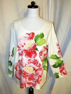 Sz 16 18 Chico's Sz 3 Knit Top 3/4 Sleeves White Floral Scoop Neckline Red Pink SOLD