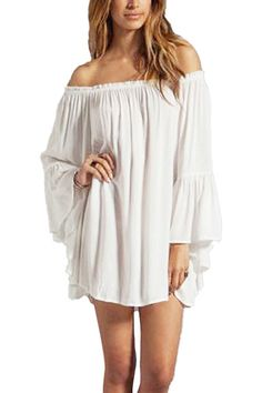 White Off Shoulder Chiffon Dress - US$13.95 -YOINS