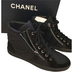 Pre-owned Chanel Nib Size 37.5 Cc Canvas Lace Up High Top Zip Sneakers... ($854) ❤ liked on Polyvore featuring shoes, sneakers, black, canvas shoes, lace up sneakers, black high tops, canvas high top sneakers and black hi top sneakers