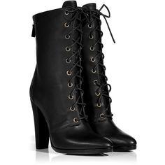 BALMAIN Black Leather Adele Ranger Boots ($568) ❤ liked on Polyvore