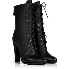 BALMAIN Black Leather Adele Ranger Boots ($568) ❤ liked on Polyvore featuring shoes, boots, heels, balmain, sapatos, military lace up boots, leather military boots, pointy boots, leather lace up boots and pointed toe boots