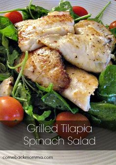"Grilled Tilapia Spinach Salad - PERFECT for the ""Excited"" nervous system type! To learn more about the metabolism and how to improve it, read the book ""The Power of Your Metabolism"" by Frank Suarez. www.ThePowerofYourMetabolism.com"