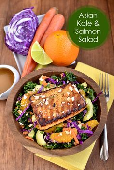 Asian Kale & Salmon Salad | iowagirleats.com @Ann Flanigan Brincks Girl Eats