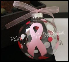 Breast Cancer Awareness Ornament by PaintitPinkBoutique on Etsy, $10.00