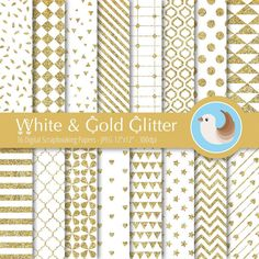 White and Gold Digital Paper Set  White Digital by CinnamonDove
