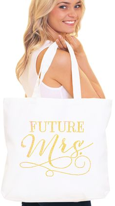 This gold Future mrs tote makes a great gift for the bride!  Its the ultimate bride bag!