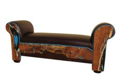Turquoise inlay on western leather bench