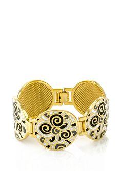 JARDIN  18K Gold-Plated Round Link Enamel Bracelet