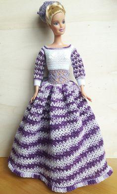 Puppenkleidung - Barbie Kleid (gehäkelt), melange, weiß/lila - ein Designerstück von Anna-Tim bei DaWanda