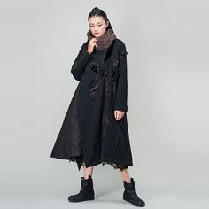 Outline Vintage Parka Coats for Women Thicken Warm Cold Coat in Casual Ethnic Loose Jacket for Winter Plus Size Outwear L154Y028