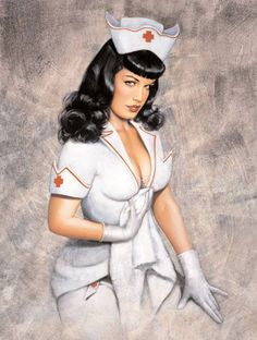 Photo of Olivia does Bettie Page for fans of Pin Up Girls. A pin-up painting of Bettie Page done by the artist Olivia de Berardinis. Pinup Art, Pin Up Illustration, Illustrations, Pin Up Girls, Pin Up Nurse, Bettie Page Photos, Dibujos Pin Up, Olivia De Berardinis, Pin Up Photos