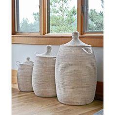 Handmade Woven Storage Hamper - White - Large
