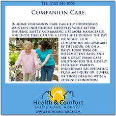Health & Comfort Home Care provides a variety of companion care services in NJ. @Health & Comfort Home Care.com, experienced companions are compassionate, attentive, dependable and committed to serving the needs of you or your loved one. #hchomecare #homecareagency in #newjersey #companioncare #homecare