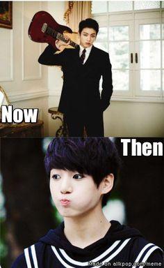 Damn...When puberty hit Jungkook...it hit hard   allkpop Meme Center