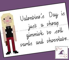 """Today's featured #crossstitch pattern: Create an anti-Valentine's Day #card for the """"Buffy The #Vampire Slayer"""" fan in your life. This cross stitch pattern features Buffy herself and is designed to fit on a sta... #vampire #horror #slayer #love #anniversary"""