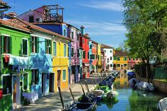 Street with houses and canal in amazing colorful Burano, Venice, Italy. All prints are professionally printed, packaged, and shipped within 3 - 4 business days. Choose from multiple sizes and hundreds of frame and mat options. Available as poster, greeting card, framed fine art print, metal, acrylic or canvas print. (c) Matthias Hauser hauserfoto.com - Art for your Home Decor and Interior Design needs.