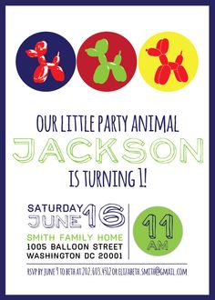 Balloon Dog Birthday Invitation By CapitolConfetti On Etsy 1500
