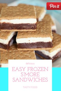 Easy Frozen S'More Sandwiches Gourmet Sandwiches, Party Sandwiches, Best Sandwich Recipes, Best Cake Recipes, Homemade Sandwich, Reuben Sandwich, Bagels Sandwich, Sandwich Bar, Sandwich Ideas