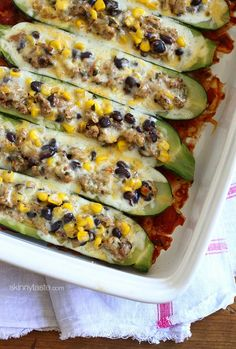 This just screams summer! Stuffed with a spicy turkey, black beans and corn filling and baked with melted cheese – YUM!!