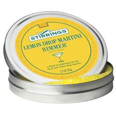 Stirrings | Rimmer | Lemon Drop Martini | Ingredients: SUGAR, NOT MORE THAN 2%: LEMON FLAVOR, EXTRACTS OF TURMERIC (For Color), SILICON DIOXIDE (To Prevent Caking) | 1 tsp (3g) has 10 calories | #whatsugar #cocktailrimmergarnish #stirrings #cocktailsugar #flavoredsugar Lemon Drop Drink, Lemon Drop Martini, Pomegranate Martini, Bitter Lemon, Cocktail Garnish, Lemon Sugar, Brunch Party, Fun Cocktails, Travel