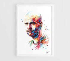 "Josep ""Pep"" Guardiola (Bayern Munich) - A3 Wall Art Print Poster of the Original Watercolor Painting"