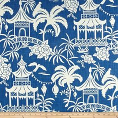 "Tempo Moon Pagoda Indigo Fabrics 54"" Wide 55% Linen 45% Rayon Sold By The Yard #Tempofabrics"