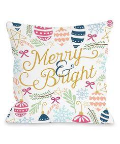 Look at this #zulilyfind! 'Merry & Bright' Square Throw Pillow #zulilyfinds