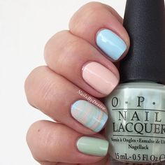Opi Soft Shades - It's a Boy! & Stop it I'm Blushing! & This Cost Me a Mint. #veckansopi #watermarblenails #opisoftshades by nailsbydesire