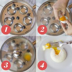 Egg poaching made easy! Check out this step-by-step tutorial showing 4 ways to perfectly poach an egg - you're sure to find a method that is right for you! How To Make A Poached Egg, Perfect Poached Eggs, How To Cook Eggs, Breakfast Waffle Recipes, Breakfast Sandwiches, Breakfast Pizza, Breakfast Bowls, Breakfast Ideas, Figs Breakfast