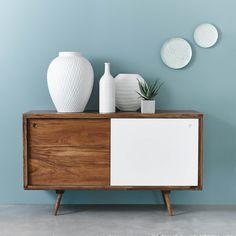 Credenza bassa vintage blu in legno   soggiorno e pranzo   Pinterest ...