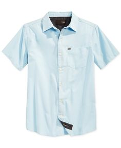 PURCHASED Hurley One and Only Short-Sleeve Shirt - Casual Button-Down Shirts - Ice - Macy's