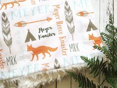 Personalized Minky Stroller Blanket, Double Layer Monogram Nursery Blanket or Carseat Blanket, Woodland Fox and Arrows