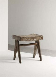 Pierre Jeanneret, Stool from Chandigarh, India, Side of seat painted with 'P.G.I. 54 (N.H.)'. c.1961