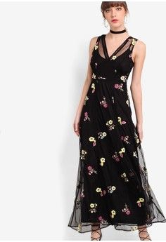 Embroidered Maxi Dress from River Island in black_1