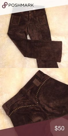 """June Brown Suede Pants Gorgeous  June brown suede pants. Two front pockets. Brass rivets. Fit like jeans. Super comfy. Not lined unfinished hem style. 39"""" from waist to bottom of hem. june Pants Straight Leg"""