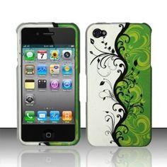 Rubberized Green Silver Black Vines Flower Snap on Design Case Hard Case Skin Cover Faceplate for Apple Iphone 4 4S (ATT/Verizon/Sprint)