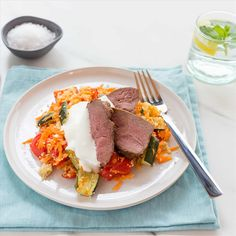 Spiced Lamb Rumps with Roast Vegetable and Carrot Couscous and Honey Yoghurt Summer Squash, Roasted Vegetables, Bbq Grill, Couscous, Zucchini, Lamb, Carrots, Steak, Spices