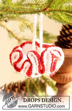 "Hæklet DROPS juletræspynt i ""Cotton Viscose"". ~ DROPS Design"