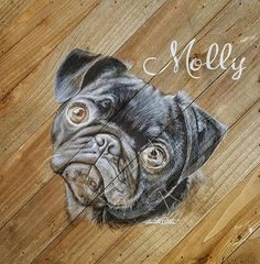 Dog Painting Portrait on Wood Plank Plaque - Memorial Painting, Vintage
