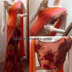 Maroon and Light Peach Saree