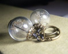 Dandelion Earrings Make A Wish Dandelion Seed Hollow by KarmaBeads