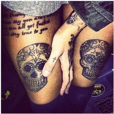 I love all of these - tattoos Hip tattoo arm hand tattoo Sugar skulls Quote Cross
