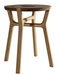 Tabouret Affi / H 42 cm - Bois Hêtre & noyer - Internoitaliano - Décoration et mobilier design avec Made in Design